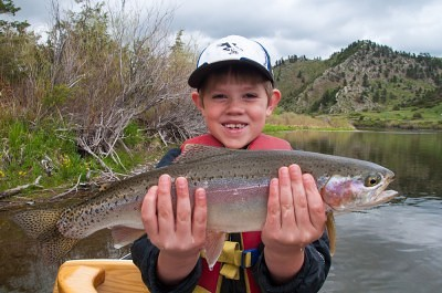 Thomas fly fishing in Montana