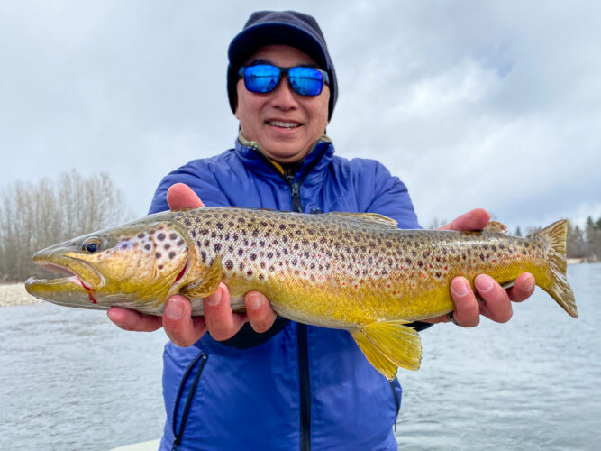 Erik started the day with an awesome brown trout