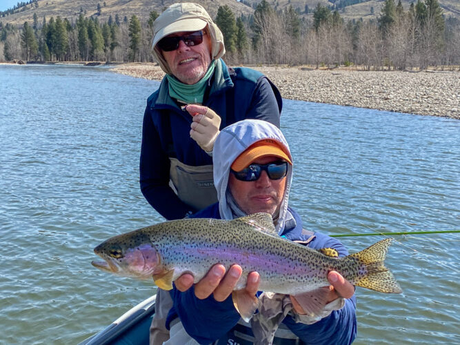 Jim with a stud rainbow on the dry fly on the Bitterroot
