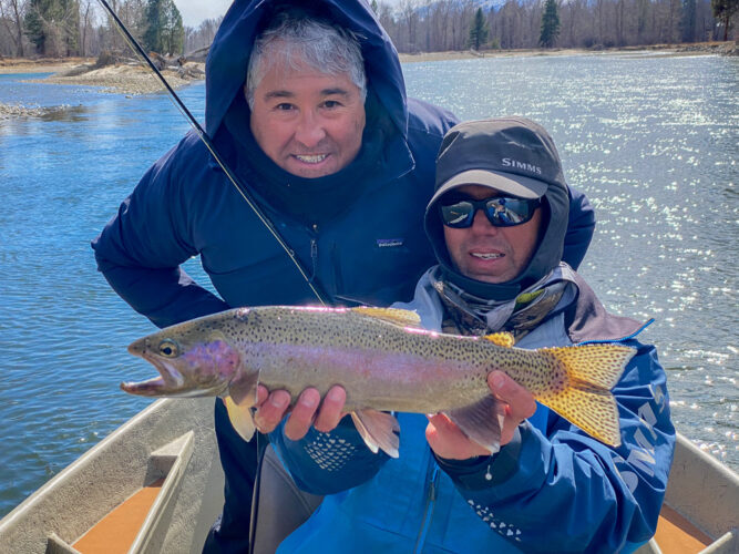 Art capped off the spring trout fishing trip with a thick rainbow