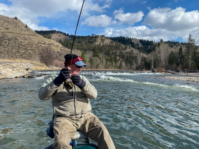 Mike had to fight this trout all the way over the diversion dam in the background