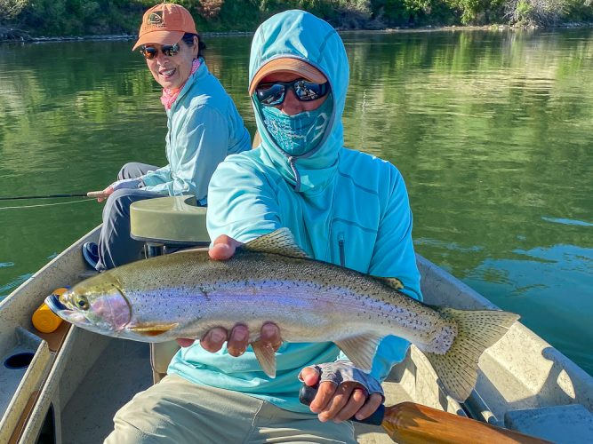 Big bright Missouri River Rainbow Trout in the morning