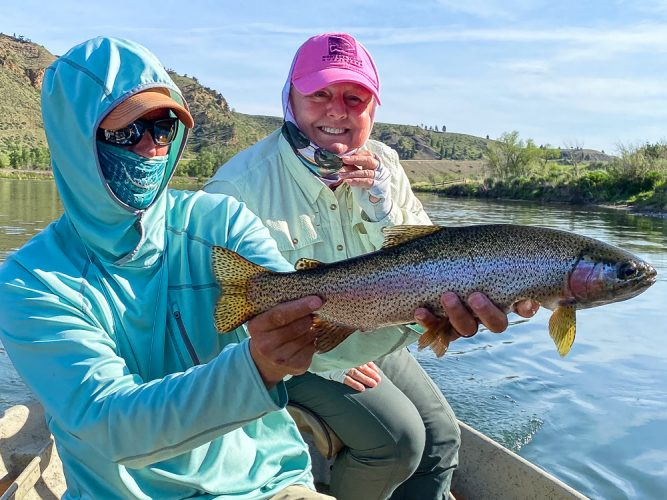 Dianne with a big Missouri River rainbow trout that jumped 5 or 6 times
