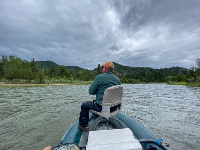 Hooked up in the cloud cover - Trout Fishing Montana