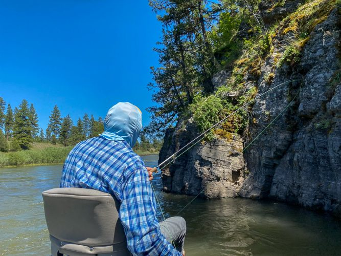 Hooked up in the shade - Trout Fishing Montana