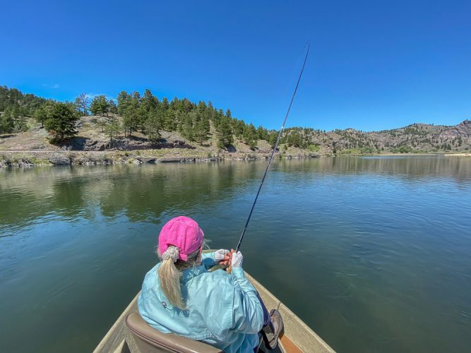 Dianne hooked up in the afternoon with Missouri River Rainbow Trout