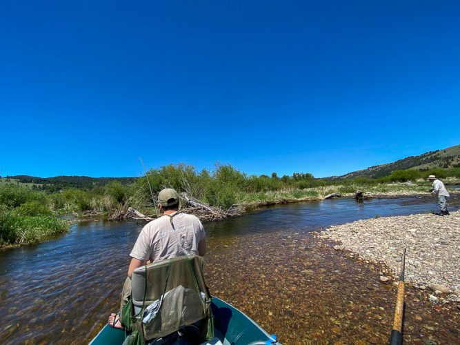 Nik hooked up while Marcelo worked the next spot - Trout Fishing Montana