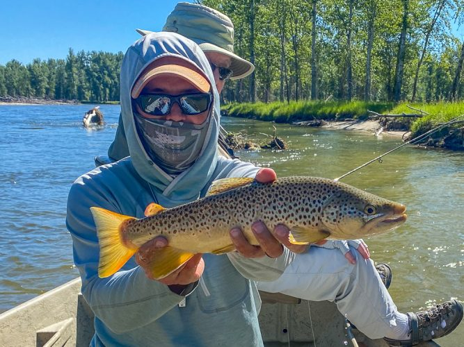 Stan with a nice brown trout early - Trout Fishing Montana